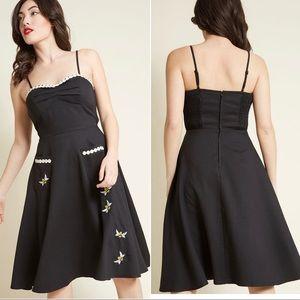 ModCloth voodoo vixen Black Bee Embroidered Dress